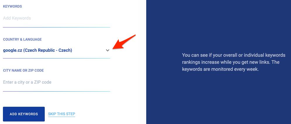 Zadání klíčových slov v Monitor Backlinks