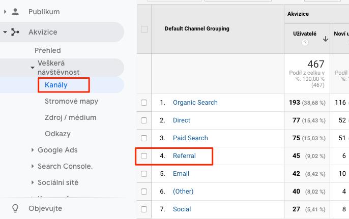Výběr kanálu referral v Google Analytics