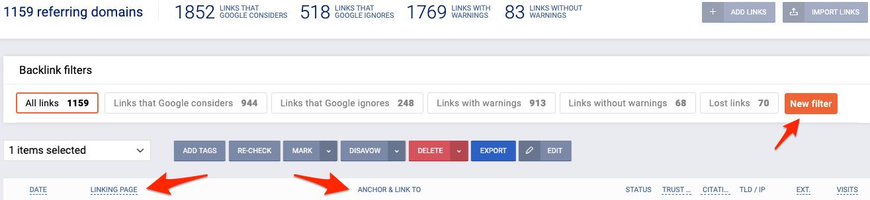 Přehled zpětných odkazů v Backlinks Monitor