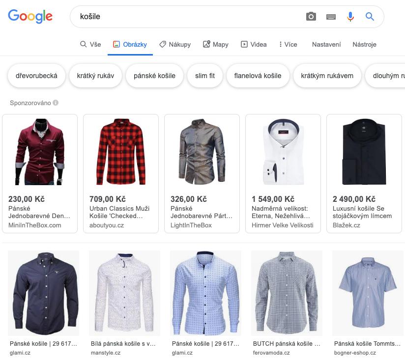 Příklad vyhledávání podle obrázku přes Google
