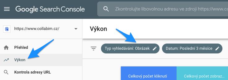 Zjištění návštěvnosti webu přes obrázky v Google Search Console
