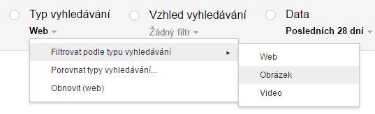 Přepnutí na obrázky v Google Search Console