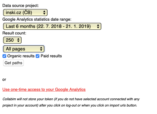 Import slov z Google Analytics v Collabimu