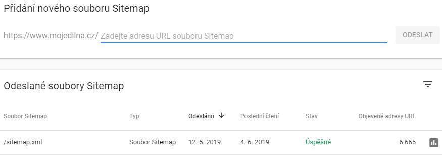 Odeslání souboru sitemap k indexaci