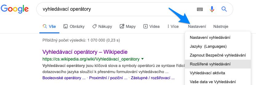 rozšíření vyhledávání Google