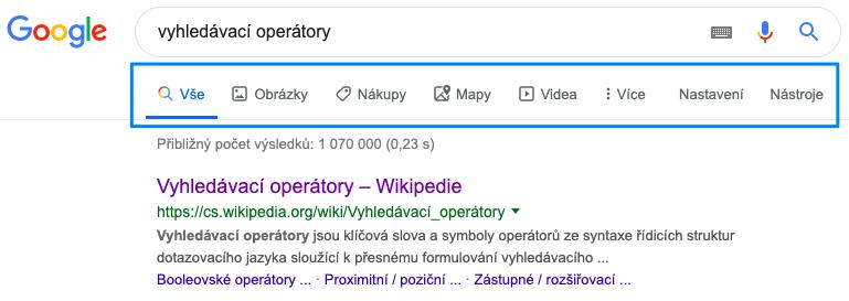 základní rozložení vyhledávače Google