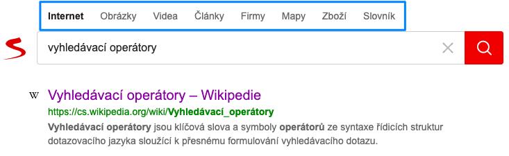 základní rozložení vyhledávače Seznam