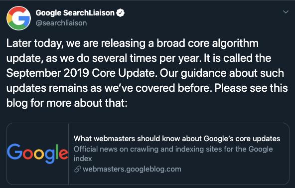 Google core update - září 2019