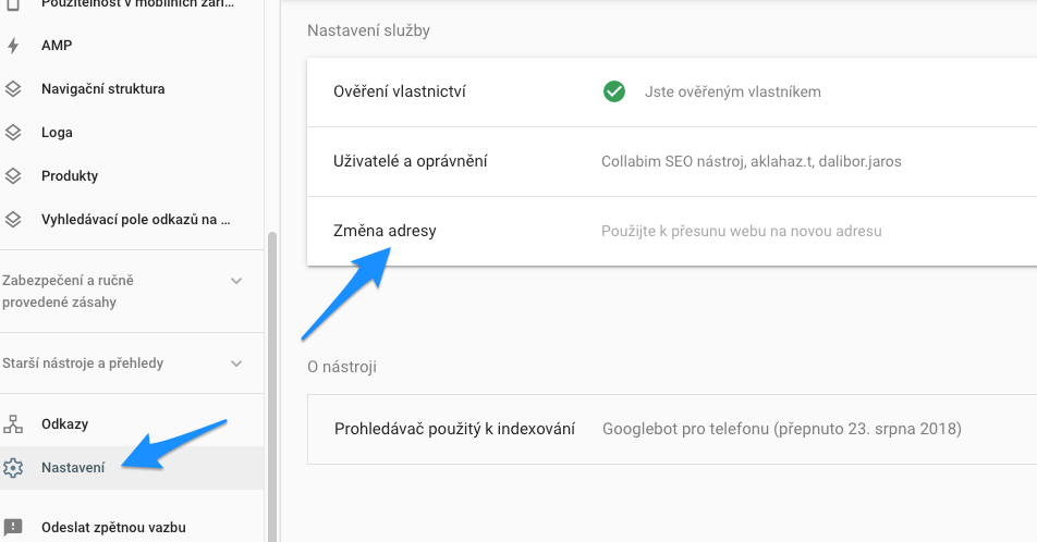 Funkce Změna adresy v Google Search Console