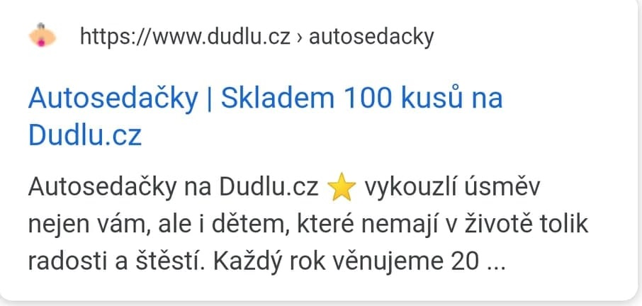 Meta Description s emotikon na mobilu