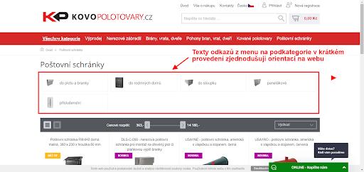Příklad e-shopu se zkrácenými popisy podkategorií
