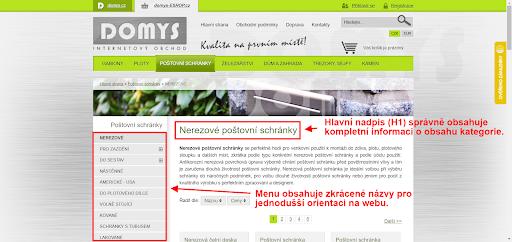 Příklad správného popisu podkategorií i titulků v e-shopu