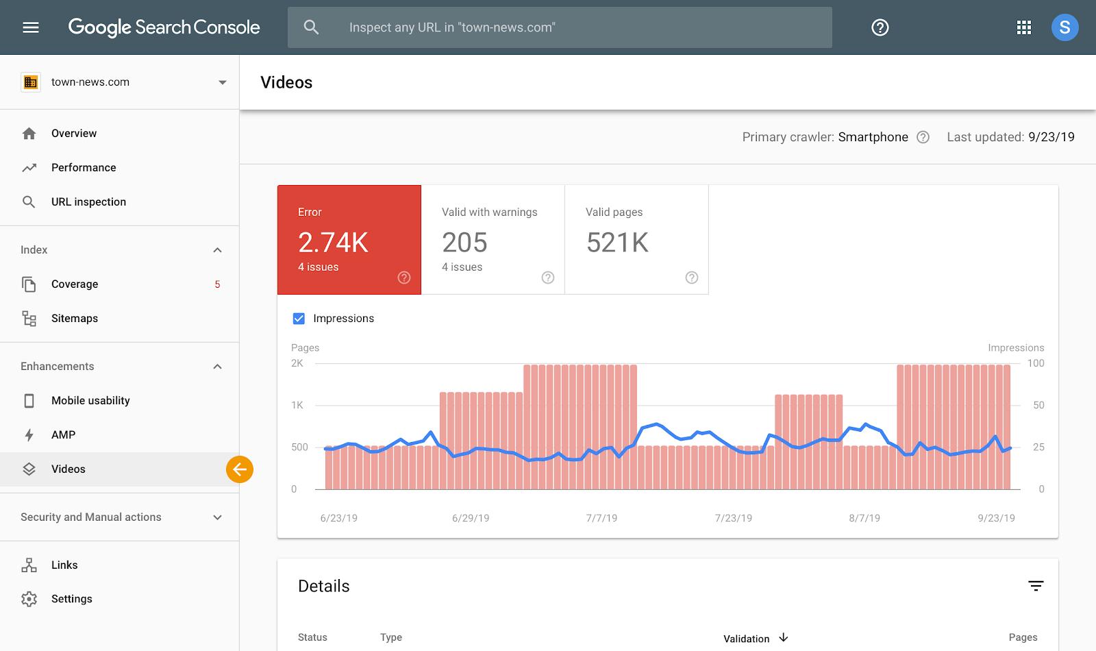 Video report v Google Search Console