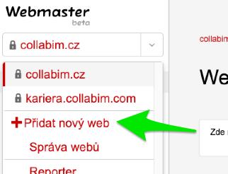 Přidání webu | Seznam Webmaster tools