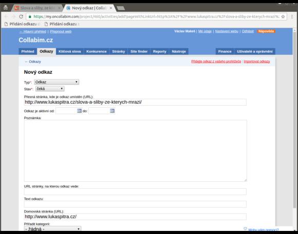 Předvyplněný formulář pro přidání odkazu