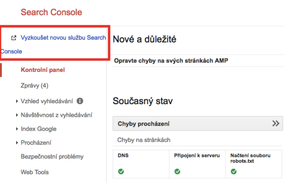 Odkaz na novou Google Search Console