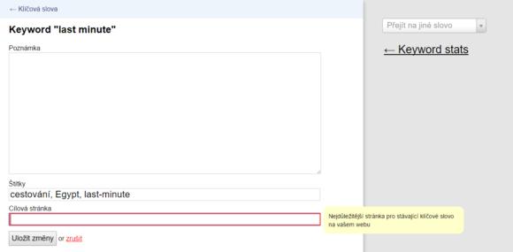 Obr. č. 1: Jak ručně v Collabimu přidat cílovou URL ke klíčovému slovu